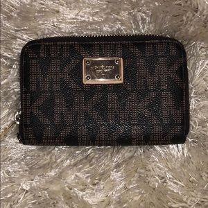 Michael Kors Brown Zip Around Signature Wallet